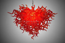 Chinese Red Wholesale Price Murano Glass Chandelier 100% Hand Blown Lamp