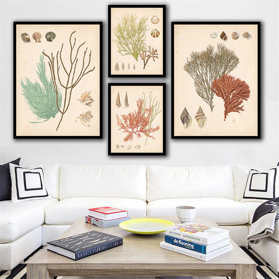 Nordic Wall Art Poster Prints Sea Plants And Shell Pictures Modern Minimalist Canvas Seaweed Painting For Living Room Home Decor
