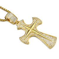 Hip Hop Iced Out Gold Doji Cross Necklace Stainless Steel Full Paving CZ Crucifix Pendants Necklaces Men Religion Jewelry
