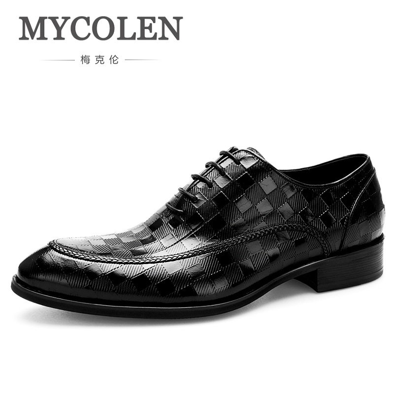 MYCOLEN Top Leather Men Dress Shoes High Quality Men Formal Shoes Lace-Up Men Business Brand Oxford Shoes Zapato Hombre Piel men luxury brand python leather dress shoes male high grade full leather oxford shoes lace up brown dress men free ship dhl page 1