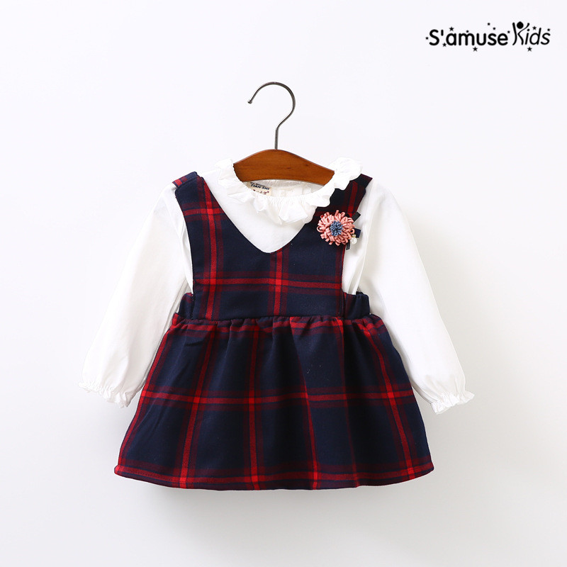Baby Girls Dress 2017 Spring New Brand Girls Clothing Sets Kids Clothes Plaid Pattern Toddler Girl Long Sleeve Baby Dress Suits vintage multilayered faux suede bowknot leaf charm choker necklace for women
