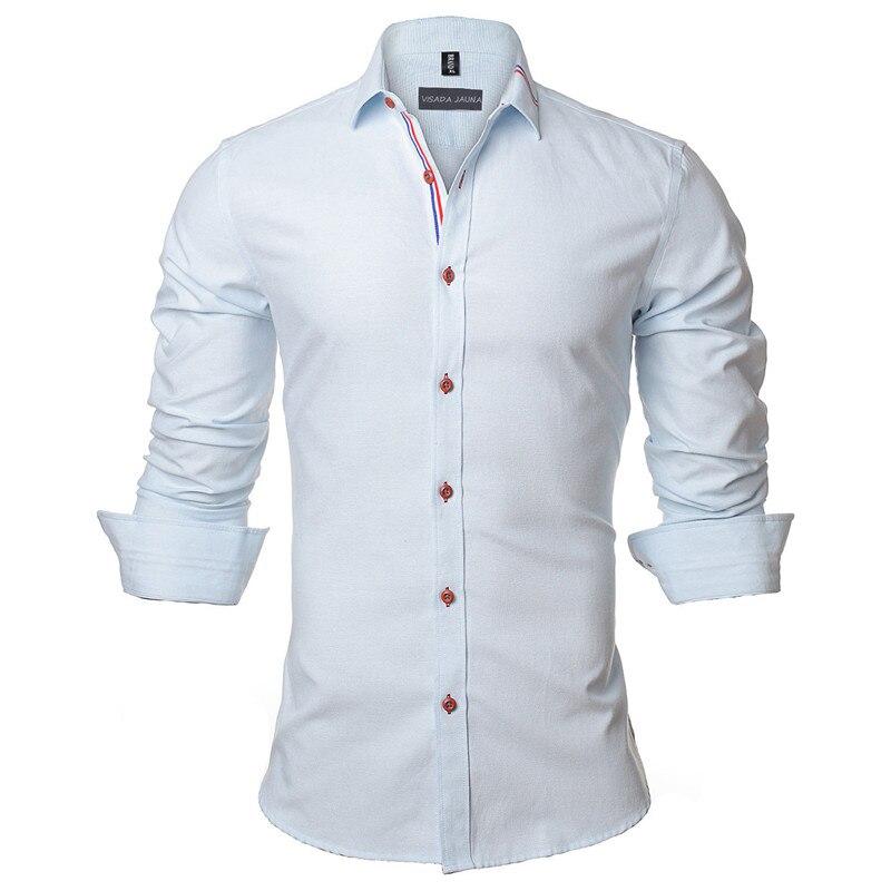 VISADA JAUNA 2017 Neue Männer Hemd Einfarbig Langarm Lässige Marke - Herrenbekleidung - Foto 5