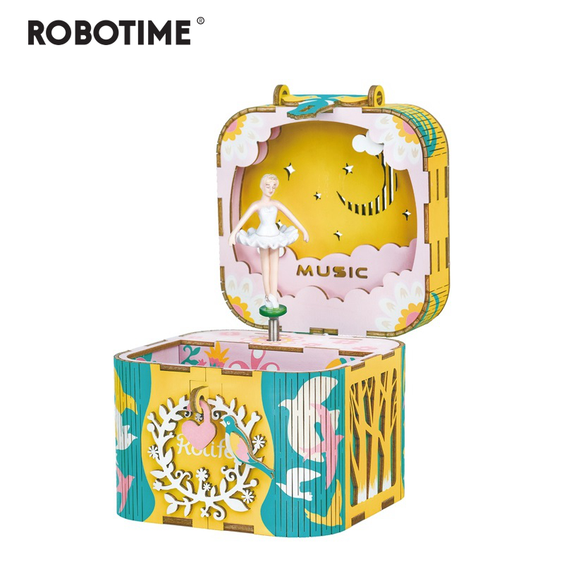 Robotime DIY 3D Rotatable Dancing Ballerma Wooden Puzzle Game Assembly Music Box Toy Gift for Children Kids Adult AMD52Robotime DIY 3D Rotatable Dancing Ballerma Wooden Puzzle Game Assembly Music Box Toy Gift for Children Kids Adult AMD52