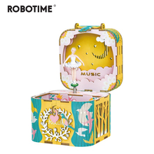 Robotime DIY 3D Rotatable Dancing Ballerma Wooden Puzzle Game Assembly Music Box Toy Gift for Children Kids Adult AMD52
