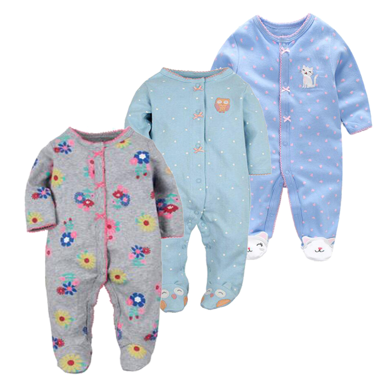 100% Cotton Newborn Baby Boys Brand Long Sleeved Rompers Spring Girls Foot Overalls Newborn Infant Jumpsuit Unisex Baby Clothes