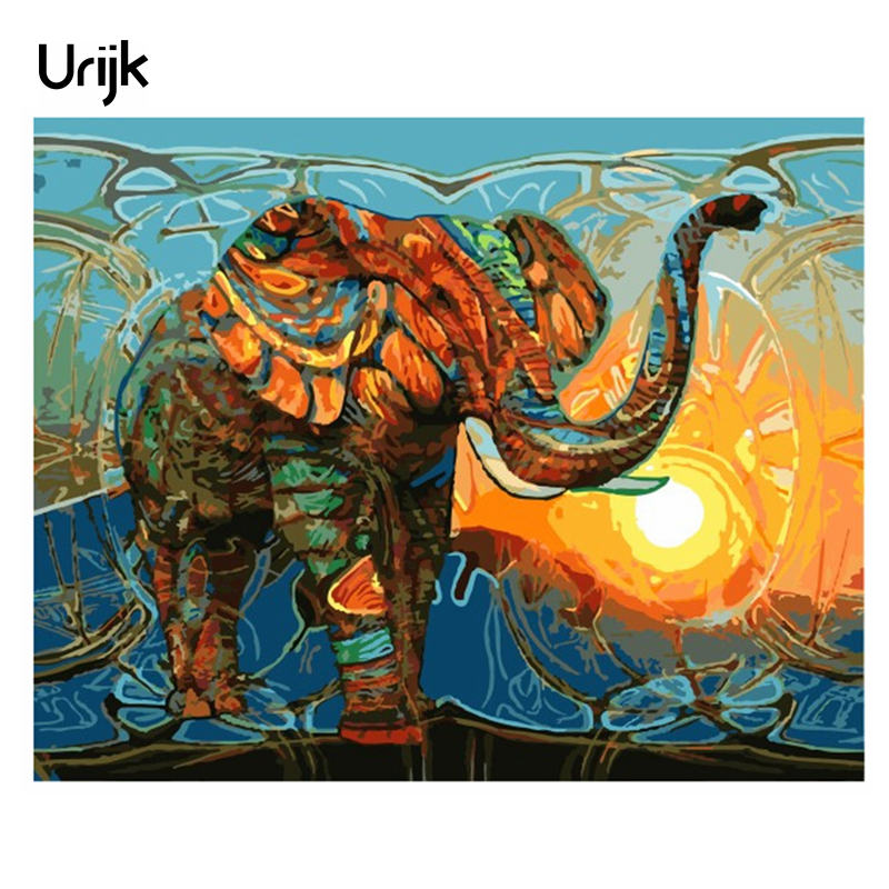 Urijk Frameless Elephant Pictures Painting By Numbers DIY Oil Paintings Canvas Number Painting Home Decorations Accessoris