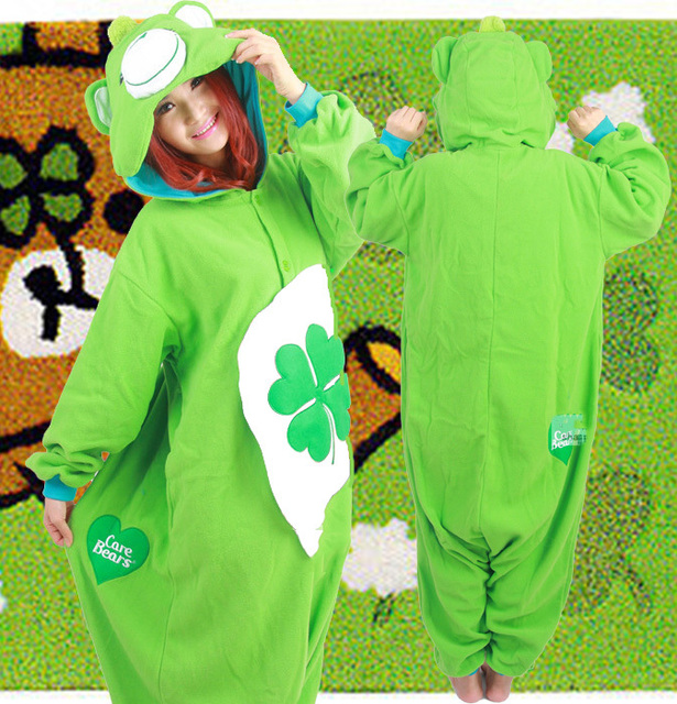 Halloween Party Costume Green Clover Care Bear Onesie Pajamas Costume Onesie  Unisex Adult One-piece Sleepwear Tops Party 6b5b397f5