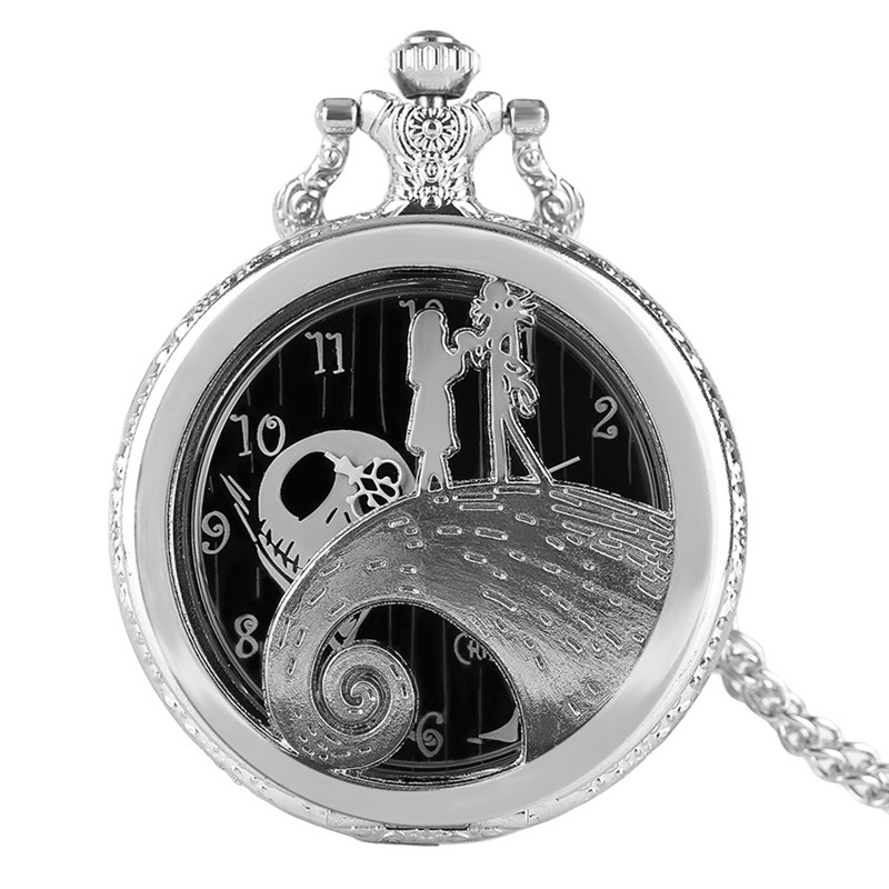 Modern Fashion Hollow Then Nightmare Before Christmas Theme Pocket Watch Silver Deisgn Case Necklace Chain Classic Kids Gift