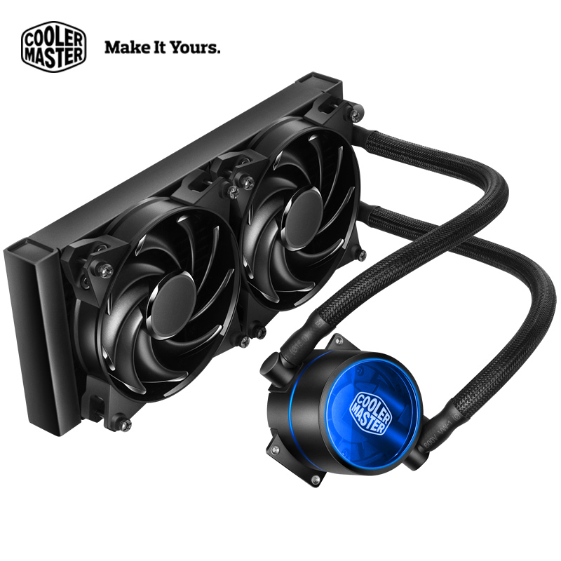 Cooler Master  240 CPU Liquid Cooler Two 120mm quiet fan Compatible Intel 2066 115x AMD AM4 CPU Water Cooling fan Cooler graphics card water cooling radiator cpu fan water liquid dynamic cooling system mute copper aluminum cooler base for intel amd