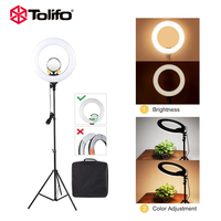 Tolifo 14 R40B AC LED Ring Light with Stand Kit 40W Bi color 3200 5600k included Cosmetic Mirror for Photo Portrait Photography