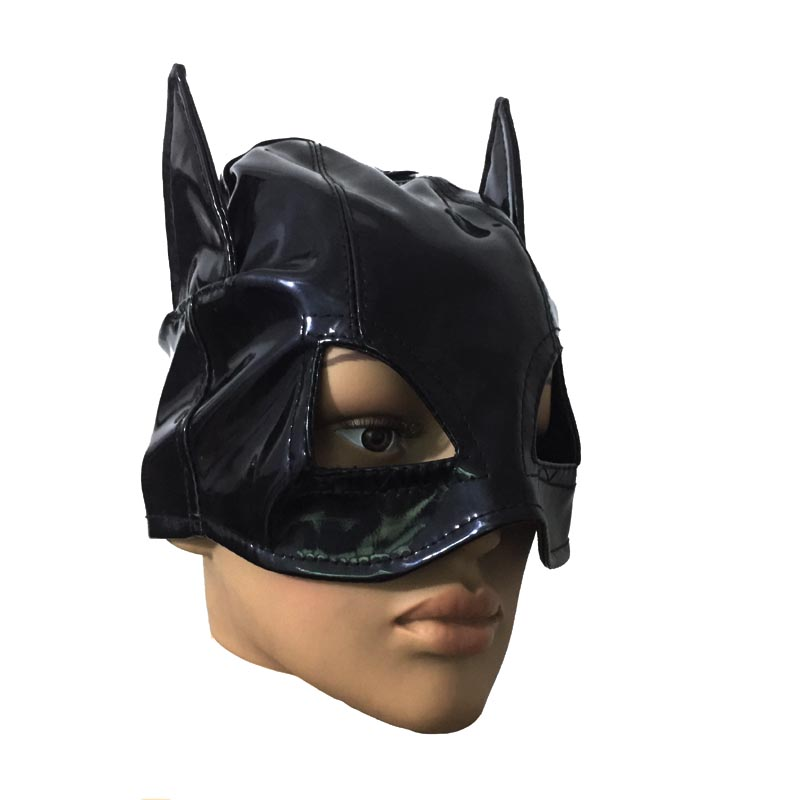 Black Patent Leather Wet Look Half Head Mask Hood with Horns Eyes Open Halloween Masquerade Role Play Costume