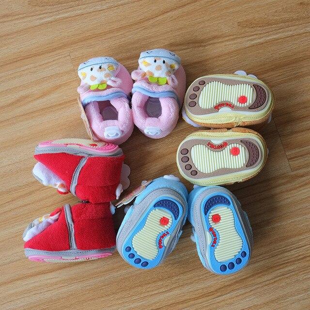 Зима супер теплая детские симпатичные 3D мультфильм дом ботинки противоскользящих руно детская обувь первые ходоки 3 размер 3 - 12 м девушка мальчики