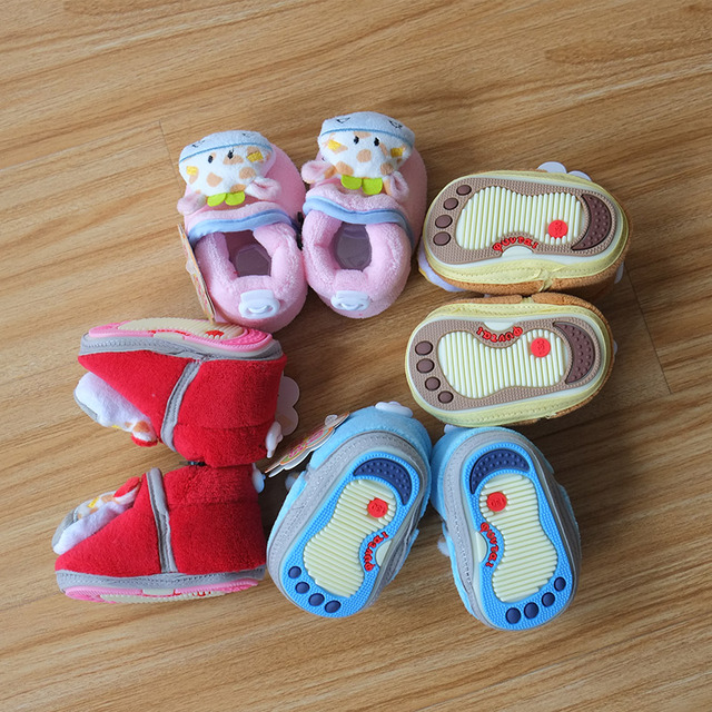 Winter super warm baby Cute 3D cartoon house shoes boots Infant Antiskid fleece Baby Shoes First Walkers 3 size 3-12 M Girl Boys