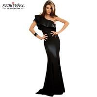SEBOWEL 2018 One-Shoulder Ruffles Elegant Long Party Dress Women Floor Length Gowns Long Formal Dress Evening Wear Maxi Dress