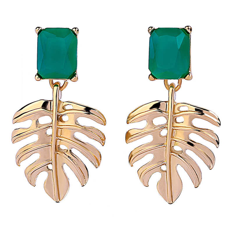 New Arrival Ethnic Green Resin Gold Color Leaf Drop Earrings For Women Fashion Handmade Date Gift Wholesale Earring Jewelry