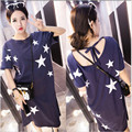 Spring and Summer maternity clothing Stars lacing short sleeve one-piece dress plus size pregnant woman racerback dress