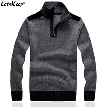 New LetsKeep 2016 men's wool pullover sweaters jumpers stand collar sweaters men thick loose sweater for men plus size,MA267