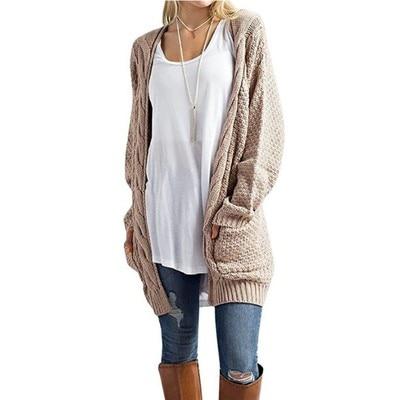 Neue 2018 Herbst Winter Frauen Pullover Lange Strickjacke Frauen V-ausschnitt Langarm Mit Tasche Gestrickte Pullover Strickjacken Mujer Invierno
