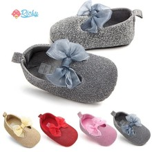Cute Bow Baby Girls Solid Color Shoes Cotton Princess Newborn Baby Shoes First Walker Infant Toddler Soft Sole Anti-slip Shoes