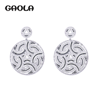 GAOLA Round Flower Cubic Zirconia Stud Earrings Crystal Brand Earrings for Women and Girl GLE6546