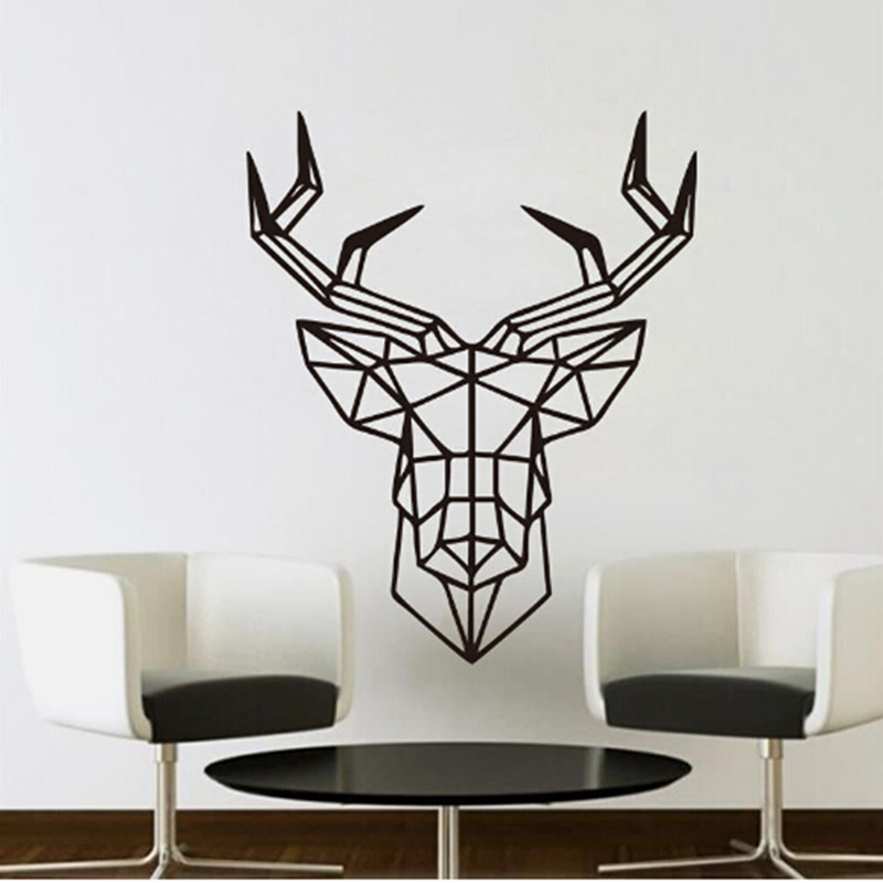 wall sticker deer design geometric deer head geometry animal series decals 3d vinyl wall art custom - Wall Designs Stickers