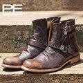 Handmade botas de Couro genuínos homens de couro fivela homens da moda sapatos Estilo Britânico botas ocidental botas de cowboy para os homens