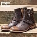 Piel de Vaca a mano de cuero genuino hombres botas de hebilla de la moda de los hombres zapatos de Estilo Británico occidental botas de vaquero para hombres
