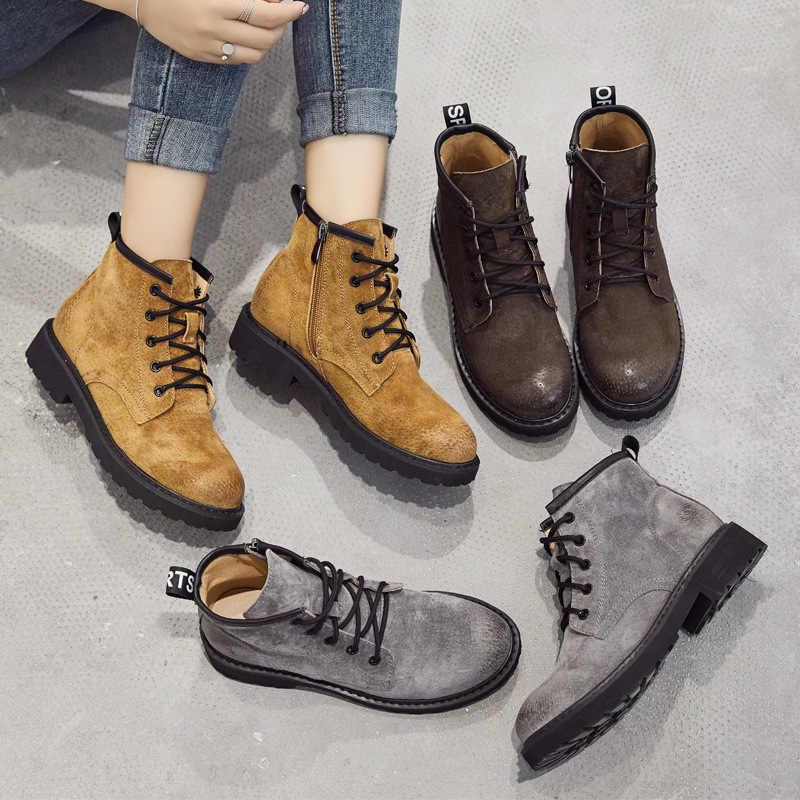 Kadın çizmeler retro patik deri Haisum botları düz alçak topuk kadın ayakkabısı H-903-2