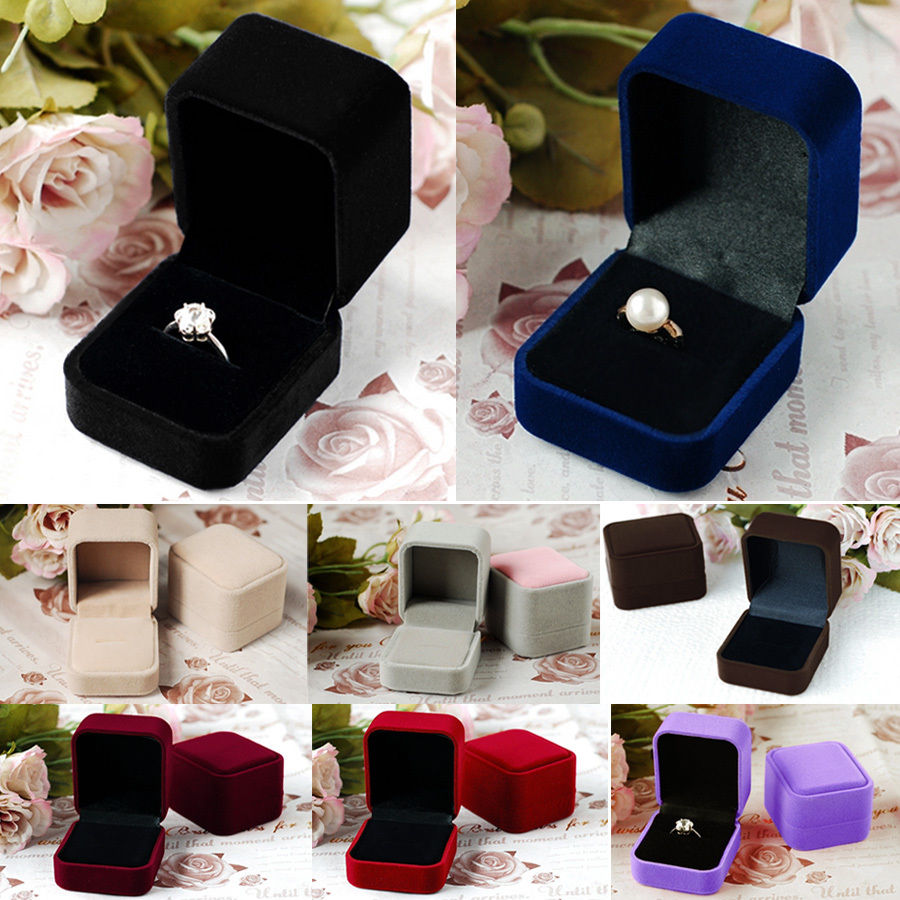 Rinhoo 1PC Colorful Square/Heart Shape Rings Swan Velvet And Paper Jewelry Boxes Gift Boxes For Wedding Engagement