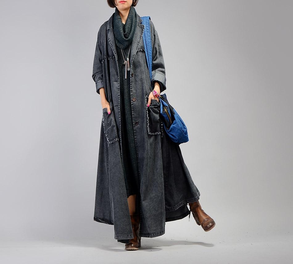 Long ever Solide Denim Femmes Manteau Printemps Couleur cowboy Poche Mode Nouveau long Fendue Veste Blue Décoration Coupe Black Yd X Commune vent 8qTdw8