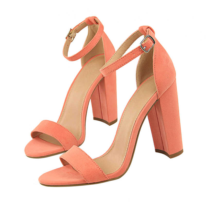 4ea7a2b6b93c 2019 Summer Fashion Classic Woman 8cm High Heels Sandals Female Block  Purple Pink Heels Pumps Lady