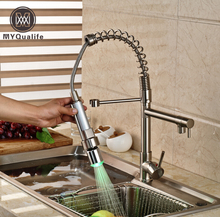 Promotion LED Color Changing Spring Dual Spout Kitchen Sink Faucet Deck Mount Brass Hot and Cold Water Kitchen Mixer Taps
