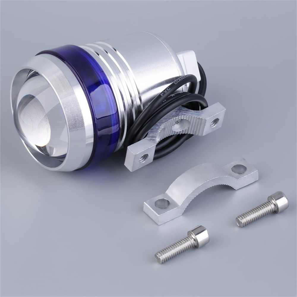 12V Metal Aluminum Motorcycle Angel Eye Lamp LED Driving Fog Spot Headlight U3 LED 30W Light Silver Body 6000-7000K