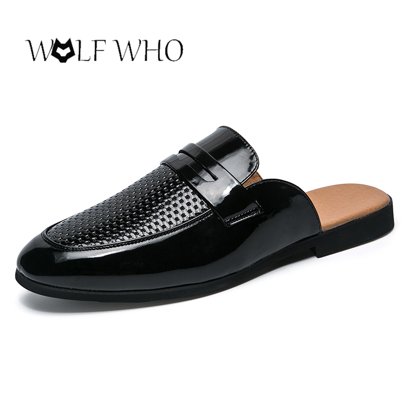 Men Shoes Leather Male Footwear Slippers Summer Half Drag