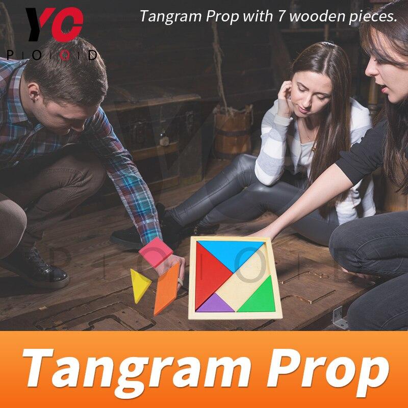 Tangram Prop YOPOOD Escape Room recueillir toutes les pièces de couleur dans la boîte en bois pour trouver des puzzles et débloquer la serrure EM - 2