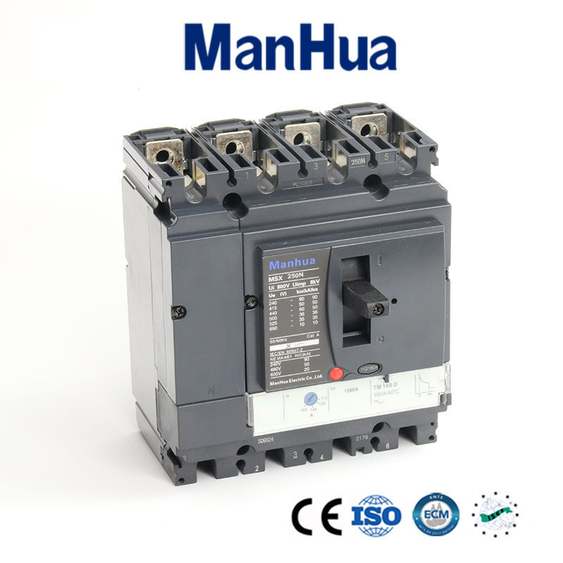 Manhua CB CE Certificated Breaking Capacity Adjustable Moulded Case Circuit Breaker 250A 4P MSX 250N cb ce certificated breaking capacity adjustable moulded case circuit breaker 250a 3p mvs 250n