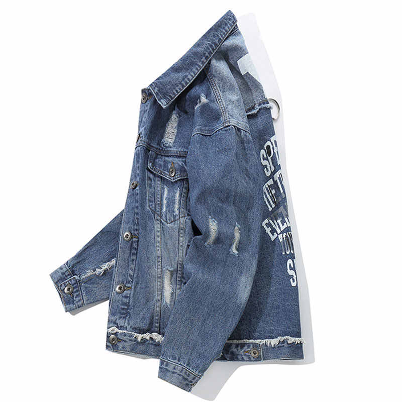 Aolamegs デニムジャケット男性の落書きヒップホップカウボーイ男性のジャケット生き抜く男性ストリート春カジュアルハイストリートファッション