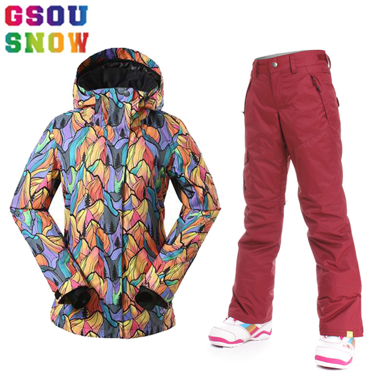 GSOU SNOW Brand Ski Suit Women Ski Jacket Pants Winter Outdoor Waterproof Cheap Skiing Suit Female Snowboard Sets Sport Clothing gsou snow brand ski suit women ski jacket pants waterproof snowboard jacket pants winter outdoor skiing snowboarding sport coat