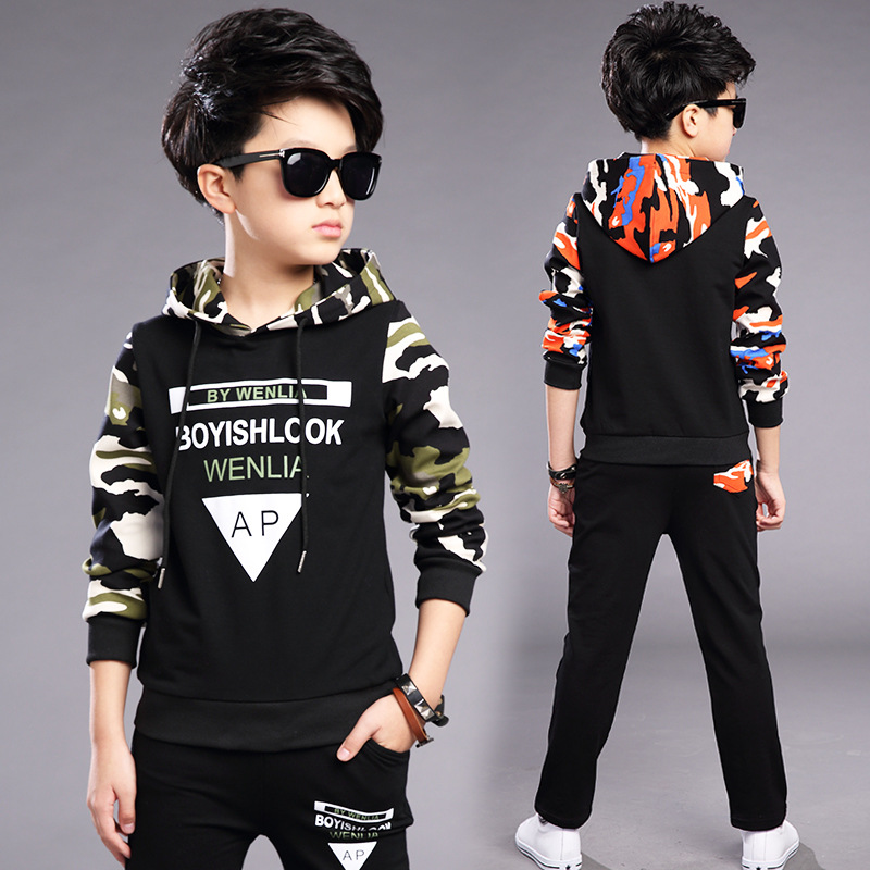 c6d33040f 4 5 6 7 8 9 10 11 12 13 14 15 Years Boys Sport Suit Camouflage Hooded  Spring Autumn T Shirt + Pant Boys Clothing Set Teenagers-in Clothing Sets  from Mother ...