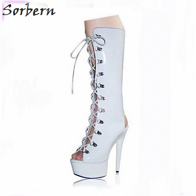 Sorbern Fashion 15Cm Spike High Heels Women Boots Knee High Open Toe And Open Heel Lace Up Ladies Shoes Boots Women Black/Red disco rgb led stage light auto rotating ball lamp effect magic party club lights for christmas home ktv xmas wedding show pub