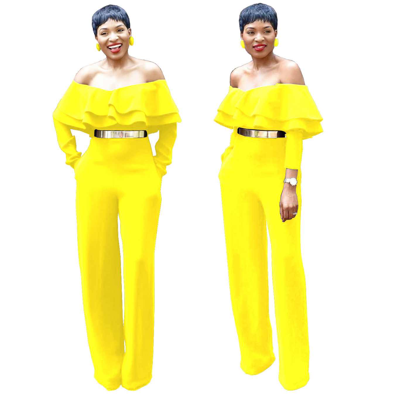Ruffle Off Shoulder Jumpsuits for Women 2019 New Sexy Strapless Spring Autumn Hot Bodysuits Plus Size Yellow Playsuits for Party
