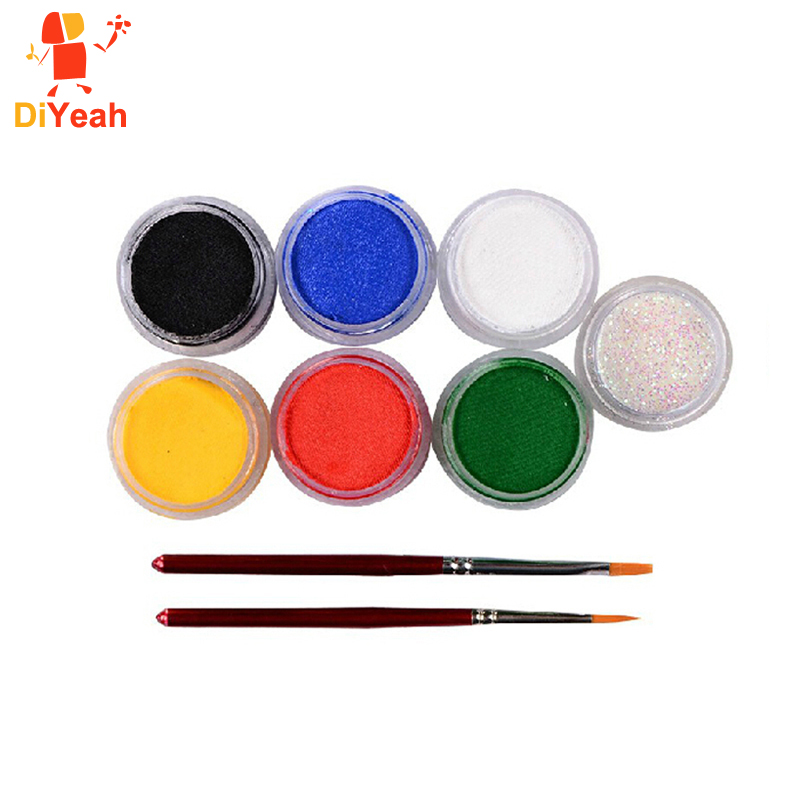 Face Paint Body Painting 6 Colors Set Brushes Glitter Colored Drawing Pigment 9g Face Makeup Maquiagem Paste Party Halloween