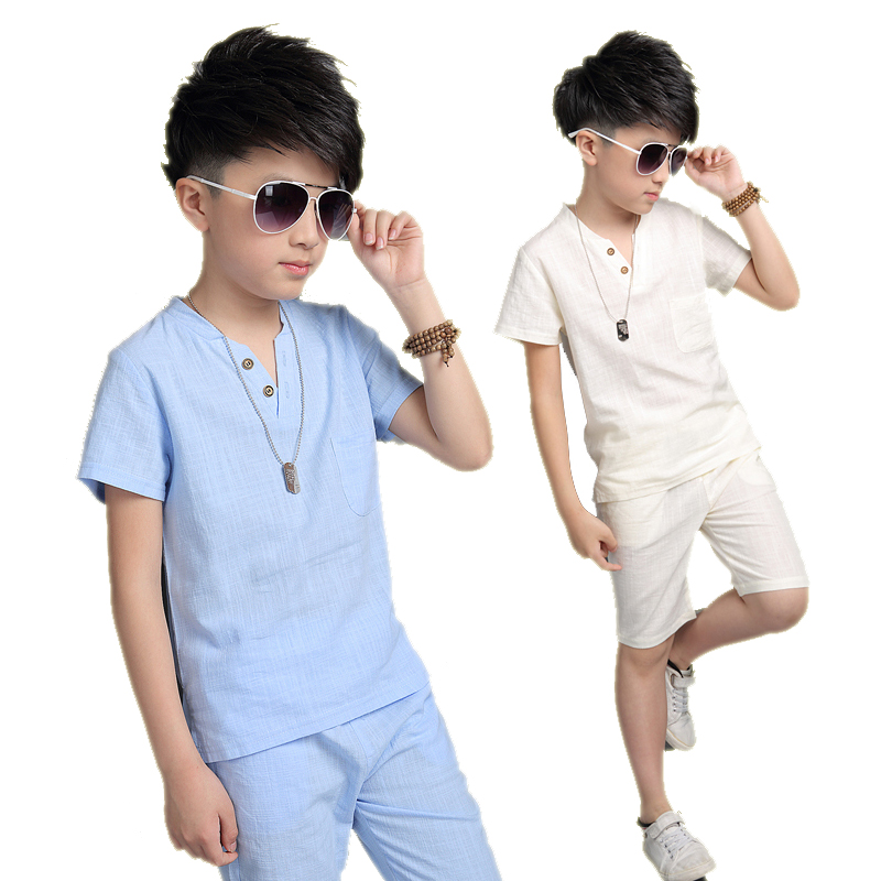 Boys Summer Clothes Sets for Boys 6 8 10 12 14 Years Kids Short Sleeve Light Blue Cotton T-shirt+half Pants Kids Clothing 5C172 casual striped short sleeve t shirt crop pants twinset for boys
