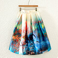 "New Women Vintage Fashion Printed Elastic High Waist Pleated Skirt Ladies wind ""A"" line Skirts  BQ-8-41"