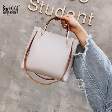 купить BRIGGS brand pu leather handbag women small tote bag shoulder messenger bags female leather bucket bag дешево