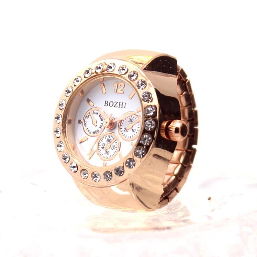 Creative Couple Clock Diamond Dial Watches Lover's Finger Ring Watch Women Men Fashion Elastic Stainless Steel Quartz Watch #LH стоимость