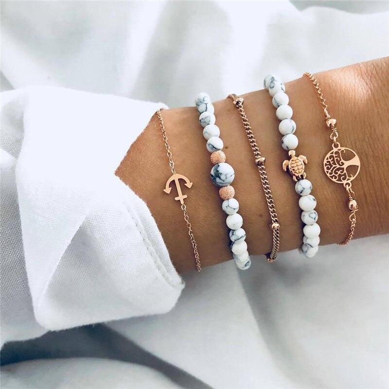 accesorios mujer Bohemian charm bead Bracelet Women tassel heart tree bijoux acier inoxydable femme Sets Jewelry armband