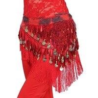Belly Dance Hip Skirt Scarf Wrap Waist Belt Bling Golden Coins Sequins TasselsYRD