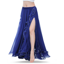 Royal Blue spódnice do tańca brzucha orientalne podwójne wysokie rozcięcie brzuch kostium taneczny spódnica dla kobiet spódnica taniec brzucha (bez pasa)