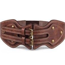 Corsés góticos Steampunk Vintage para mujer, cinturón de Bustiers, corsé para la cintura debajo del pecho recortado con arnés de cuero marrón